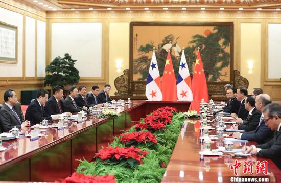 11月17日,中国国家主席习近平在北京人民大会堂同巴拿马共和国总统巴雷拉举行会谈。 中新社记者 盛佳鹏 摄