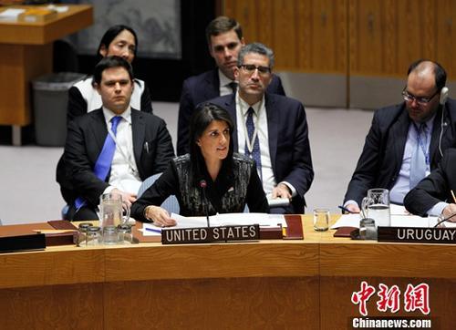 资料图:美国常驻联合国代表妮基・黑莉。<a target='_blank' href='http://www-chinanews-com.tlgwq.com/'>中新社</a>记者 马德林 摄