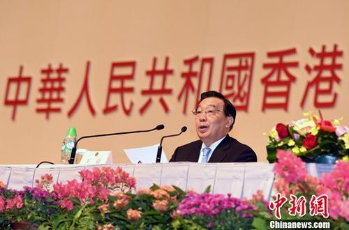 11月22日,香港特别行政区第十三届全国人大代表选举会议第一次全体会议当日在香港举行,选举会议成员1462人出席会议。受全国人大常委会委托来港主持选举工作的全国人大常委会副委员长兼秘书长王晨主持会议并讲话。<a target='_blank' href='http://www.chinanews.com/'>中新社</a>记者 谭达明 摄