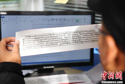 11月22日,甘肃省藏文古籍文献编译中心对藏文古籍文献进行编目,并录入电脑。 <a target='_blank' href='http://www.sray.cn/'>中新社</a>记者 杨艳敏 摄