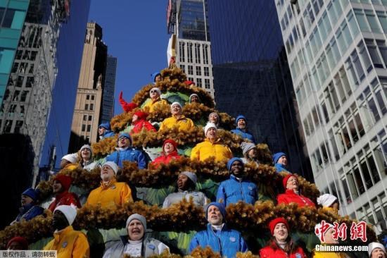 资料图:美国感恩节大游行。