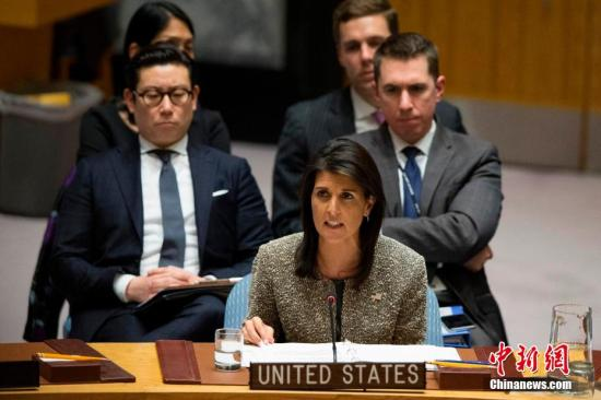 当地时间10月9日,美国总统特朗普宣布,美国常驻联合国代表妮基・黑莉将在今年年底离职。 <a target='_blank' href='http://www-chinanews-com.resurf.cn/'>中新社</a>记者 廖攀 摄