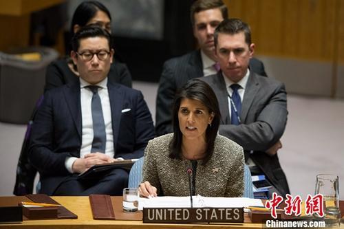 当地时间10月9日,美国常驻联合国代表妮基・黑莉宣布将于今年年底离职。<a target='_blank' href='http://www-chinanews-com.huayun99.com/'>中新社</a>记者 廖攀 摄