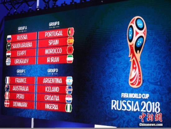 A组为俄罗斯、沙特阿拉伯、埃及、乌拉圭;B组为葡萄牙、西班牙、摩洛哥、伊朗;C组为法国、澳大利亚、秘鲁、丹麦;D组为阿根廷、冰岛、克罗地亚、尼日利亚;E组为巴西、瑞士、哥斯达黎加、塞尔维亚;F组为德国、墨西哥、瑞典、韩国;G组为比利时、巴拿马、突尼斯、英格兰;H组为波兰、塞内加尔、哥伦比亚、日本。 记者 钟欣 摄