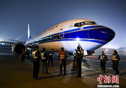 资料图:南航波音737MAX客机。 <a target='_blank' href='http://www.chinanews.com/'>中新社</a>记者 刘新 摄