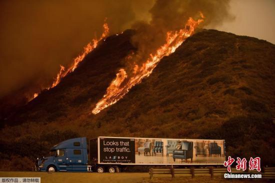 资料图为当地时间12月6日,加州文图拉的一个山坡上,大火继续肆虐。