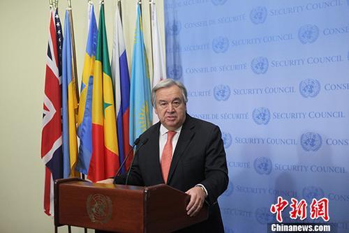 当地时间12月6日,联合国秘书长古特雷斯在联合国纽约总部发表讲话称,自己始终反对任何可能危害巴以和平的单边措施,巴以问题的最终解决只能依靠两国方案,别无他法。图为古特雷斯在发表讲话。 <a target='_blank' href='http://www.kagurazaka-kj.com/'>中新社</a>记者 马德林 摄
