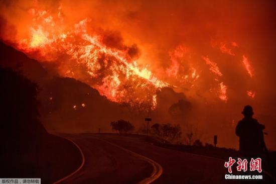"""资料图:2017年美国加州""""托马斯山火""""。"""