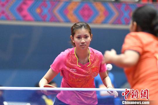 资料图:乒乓球比赛现场。 俞靖 摄