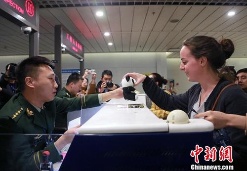 资料图:外籍旅客办理通关手续。<a target='_blank' href='http://www.chinanews.com/'>中新社</a>记者 王磊 摄
