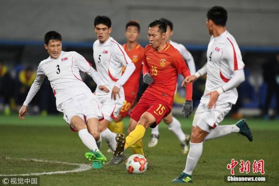 资料图:韦世豪破门国足战平朝鲜获得东亚杯季军。 图片来源:视觉中国