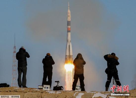 """资料图:""""联盟MS-07""""载人飞船发射成功,前往国际宇宙空间站。"""