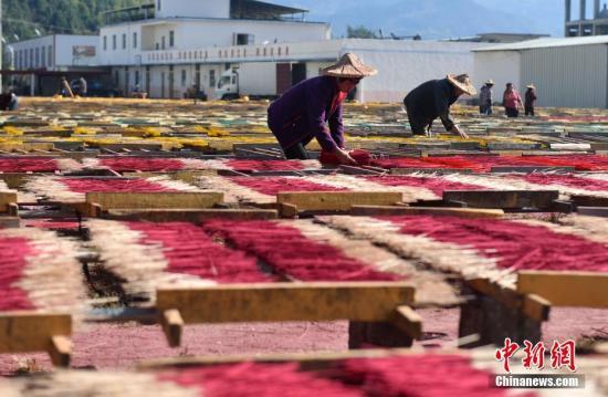 """2014年永春达埔被中国轻工业联合会、中国日用杂品协会联合授予""""中国香都""""称号。图为工人正在晒香。吕明 摄"""