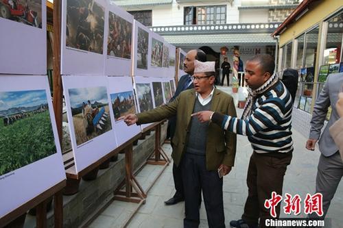 """2017年12月31日,""""从中共十九大看新时代新西藏暨中国西藏与尼泊尔文化交流座谈会""""在加德满都博达哈大佛塔地区的拉萨之家举行。 图为与会嘉宾观看主题画展。<a target='_blank' href='http://www.chinanews.com/'>中新社</a>记者 张晨翼 摄"""