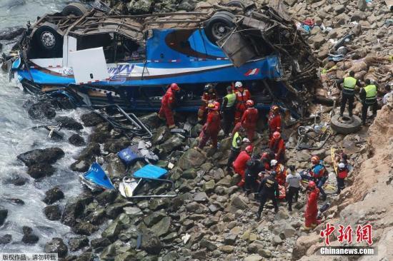 """当地时间2018年1月2日,秘鲁,一辆载有50余名乘客的大巴在秘鲁北部泛美公路上一段被称作""""魔鬼曲线""""的路段上坠下悬崖,截至记者发稿,已造成至少25人死亡,多人受伤。目前,已有至少20辆消防车辆赶至现场参加救援。事故原因还在调查中。 文字来源:央视新闻客户端"""