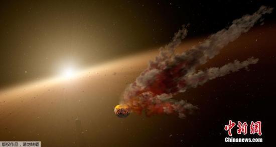 """資料圖:當地時間2018年1月3日,美國,美國國家航天局近日公布了一組編號為 KIC8462852的恒星藝術加工照,它被稱為""""宇宙中最神秘的恒星"""",它的質量比太陽更大,卻以一種奇怪的方式變得""""忽明忽暗""""這暗示著有可能是某種外星類似于""""戴森球""""巨型結構可能正在環繞著它。不過經過100多名科學家的持續觀測,目前認為星際塵埃的遮擋是該星球亮度出現變化的原因。"""