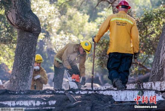 图为南加州泥石流灾害就在现场场景。