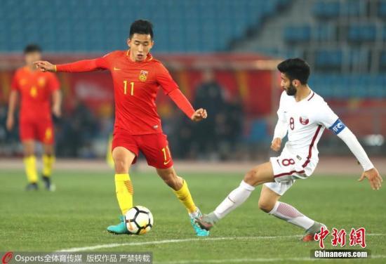 资料图:北京时间1月15日下午,中国队在U23亚洲杯小组赛最后一轮赛事中1-2负于卡塔尔队。 图片来源:Osports全体育图片社