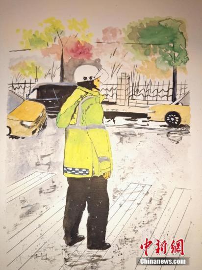 资料图:漫画交警。 王昊昊 摄
