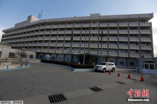 这家洲际酒店是喀布尔最豪华的酒店之一。截至目前,尚无任何组织或个人宣称制造这起袭击事件,此次事件已造成至少2名袭击者死亡。图为喀布尔洲际酒店资料图。