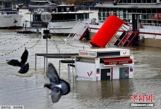当地时间2018年1月27日,法国巴黎,塞纳河水位持续上涨,淹没了河岸两旁的道路。