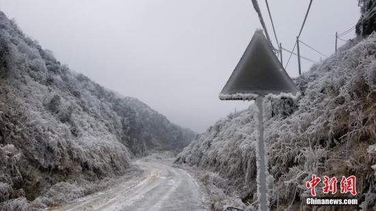 资料图:广西柳州市融水苗族自治县杆洞乡的一块路牌被冻成冰棍,字迹已经完全消失。石峰 摄
