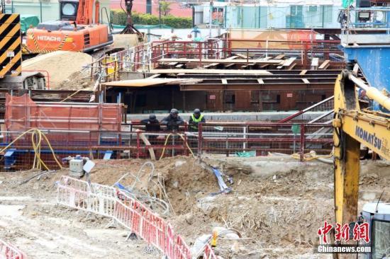 资料图:香港沙中线会展站工地。中新社记者 洪少葵 摄