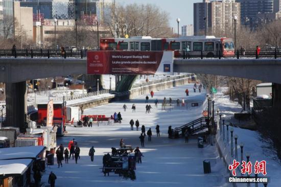 每逢冬季,加拿大首都渥太华的丽都运河就变身为全长近8公里的世界最大室外天然滑冰道。图为当地时间2月12日,民众在丽都运河冰道上滑冰休闲。渥太华今年2月亦迎来第40届冰雪节。在此期间,城中各地轮番举行数十项开放式活动,吸引民众享受冬季的快乐。 /p记者 余瑞冬 摄