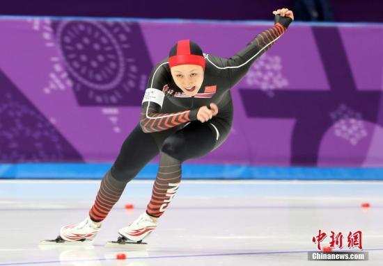 图为中国选手张虹在比赛中。 <a target='_blank' href='http://www.chinanews.com/'>中新社</a>记者 宋吉河 摄