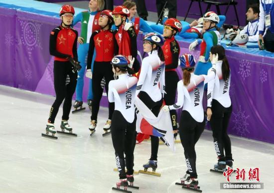 2月20日晚,在平昌冬奥会短道速滑女子3000米接力决赛中,韩国选手夺得冠军、意大利选手获得亚军。中国队以第二名冲过终点,但最终被判罚犯规,无缘奖牌。 <a target='_blank' href='http://www.chinanews.com/'>中新社</a>记者 宋吉河 摄