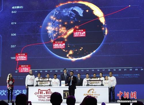 2015年11月11日晚,在天猫双十一全球狂欢节上,阿里巴巴旗下网站的成交额不断刷新纪录。 <a target='_blank' href='http://www.chinanews.com/'>中新社</a>记者 韩海丹 摄