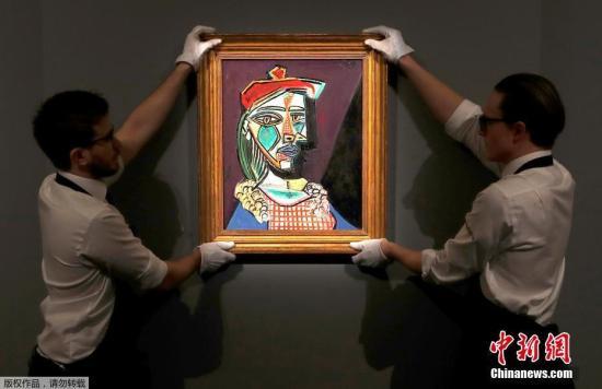 资料图:西班牙印象派大师毕加索的一幅画作在伦敦拍卖。