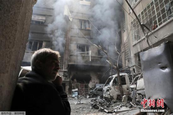 资料图:硝烟弥漫的叙利亚东古塔地区。