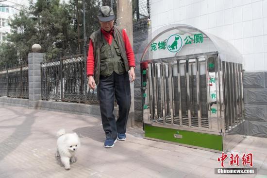 """资料图:市民带领宠物路过街边的""""狗狗公厕""""。 韦亮 摄"""