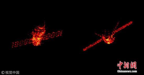 作为中国空间站的原型模块,神舟九号、神舟十号航天员在这里创造了诸多首次――首次手控交会对接、女航天员首飞、首次太空授课等。 2016年9月从中国酒泉航天发射场发射了天宫二号,如今,天宫一号已经完成了它的历史使命。它将化成一身绚烂,划过美丽星空。图为雷达在高空中拍下的天宫一号。(拼版图) 图片来源:视觉中国