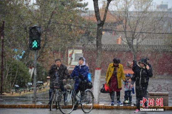 4月3日,民众在雪中步行过马路。当日,呼和浩特迎来降雪,气温突然下降,不少民众纷繁加衣保暖。中新社记者 刘文华 摄