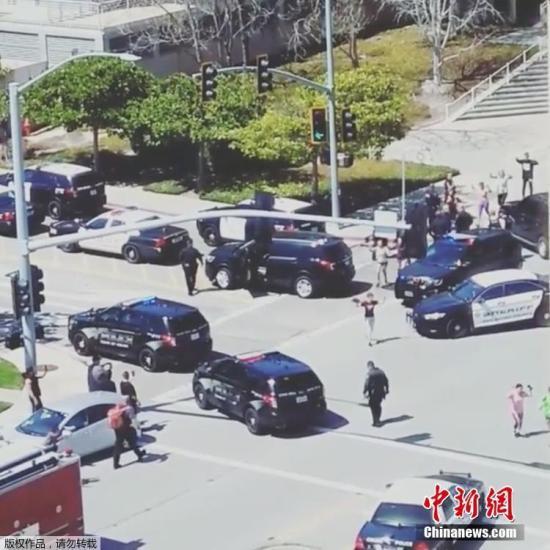 图为枪击案现场。