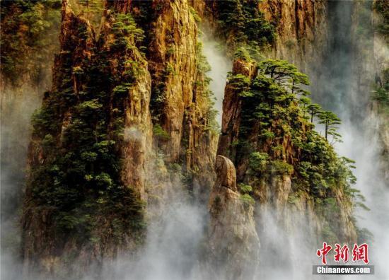 4月4日下午,一场春雨过后,安徽黄山风景区著名景点西海大峡谷,群峰、巧石和奇松矗立在变幻多姿的云海中,形成一幅幅动态美景。永清 摄