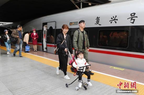 资料图:复兴号高速动车组列车。/p中新社记者 殷立勤 摄