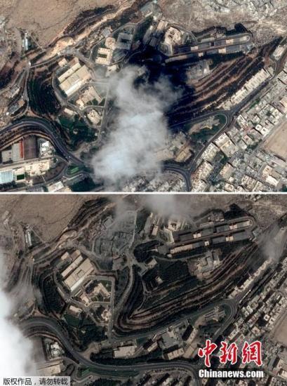 当地时间2018年4月14日,Maxar News Bureau公布叙利亚三处目标遭美英法军事打击前后的卫星对比图。