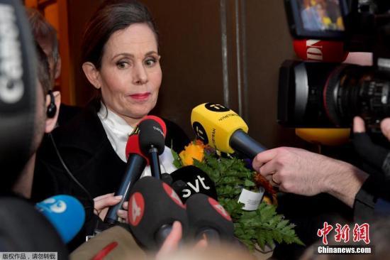 资料图:瑞典学院常任秘书长Sara Danius接受采访,她因丑闻事件引咎辞职。