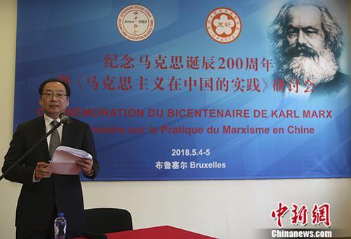 图为共同举办研讨会的中国人民对外友好协会副会长宋敬武在会上发言。 中新社记者 德永健 摄