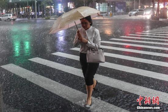 资料图:广州街头,一名女子撑伞行走在雨中。中新社记者 陈骥旻 摄