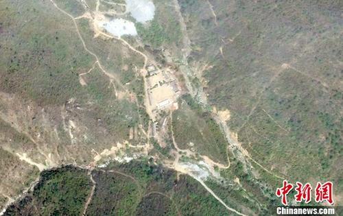当地时间2019-05-22,卫星拍摄的朝鲜丰溪里核试验场。