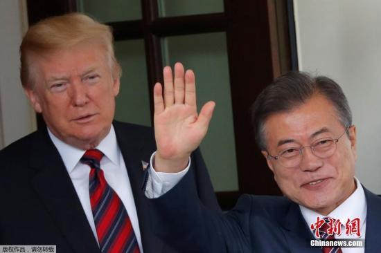资料图:韩国总统文在寅与美国总统特朗普举行会谈。
