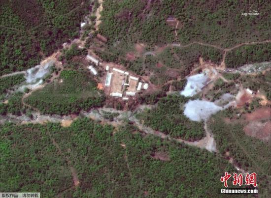 数字地球卫星图像显示下的朝鲜丰溪里核试验场。