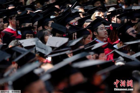 资料图:哈佛大学举行毕业典礼。