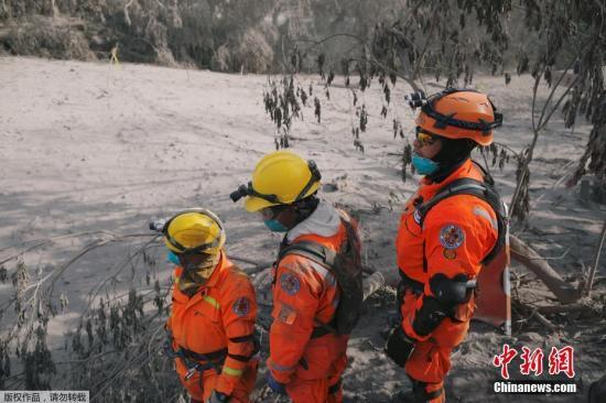 救援人员全副武装搜寻幸存者。