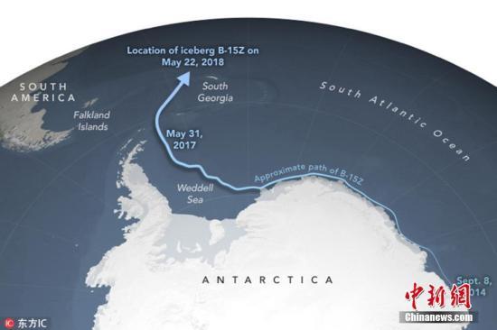 目前,冰山已经漂至大西洋南乔治亚群岛附近的温暖水域。 图片来源:东方IC 版权作品 请勿转载