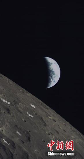 6月14日,中国国家航天局与沙特阿拉伯阿卜杜勒阿齐兹国王科技城在北京联合举行沙特月球小型光学成像探测仪的图像联合发布仪式。发布仪式上,共发布三张影像图。图为嫦娥四号任务搭载沙特相机地月合影图。中新社发 中国国家航天局供图